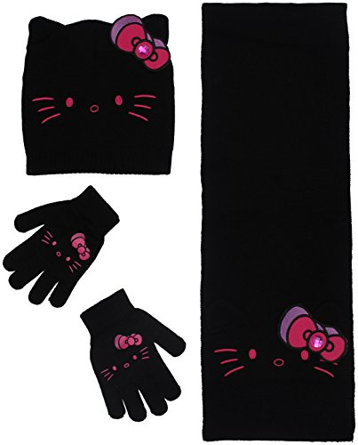 18ade631b Lucky 21 Girls Character Knit Beanie Hat and Gloves Set 4-10 Hello Kitty  Black