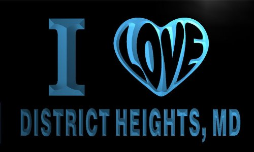 V57409-B I Love District Heights, Md Maryland City Limit Neon Light Sign