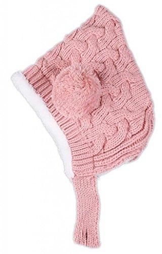C-Princess ベビー ボンボンニット帽 赤ちゃん ニットキャップ 女の子 男の子 キッズ 子供 ニット冬 帽子 耳まであったか裏ボア防寒防風帽 ピンク