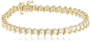 IGI Certified 18k Yellow Gold S-Link Diamond Tennis Bracelet (3.0 cttw, H-I Color, SI2-I1 Clarity), 7
