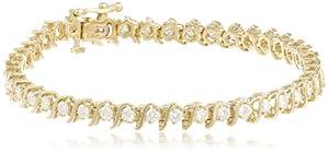 IGI Certified 18k Yellow Gold S-Link Diamond Tennis Bracelet (3.0 cttw, H-I Color, SI2-I1 Clarity), 7
