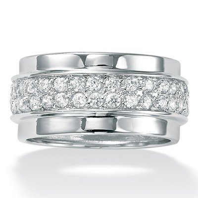 Sterling Silver Cubic Zirconia Eternity Band Size: 8