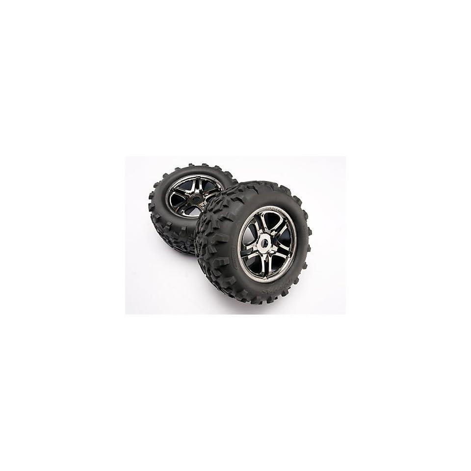 Traxxas 4983A Maxx Tires 6.3 Pre Glued on SS Split Spoke, Black Chrome Wheels, TSM Rated (pair)