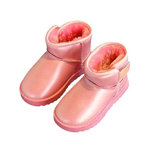 Générique bottines de neige épaissi fourrures fausse d'intérieur bottes cuir fille garçon semelle souples chaussure pour hiver