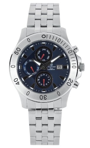 Burgmeister Sydney Bm404-131 Gents Quartz Analogue Wristwatch  Stainless Steel Bracelet Blue Dial Day Date Month 24H