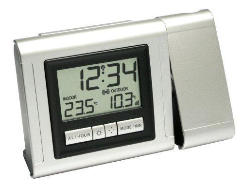 60.5006.54.IT Funk-Projektionsuhr mit Temperaturanzeige, silber