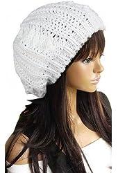 VIKEN Women Winter Warm Knitted Crochet Slouch Baggy Beret Beanie Hat many color (white)