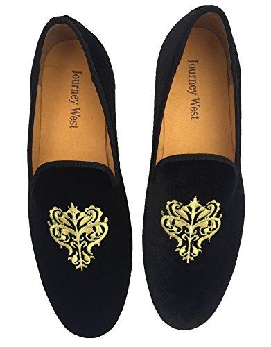 Mocassino da uomo stile Vintage, in velluto ricamato Noble-Scarpe da uomo a mocassino, Pantofole Smoking, colore: nero/rosso/blu, Nero (nero), 44.5