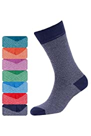 7 Pairs of Freshfeet Cotton Rich Feeder Striped Socks with Silver Technology [T10-1250S-S]