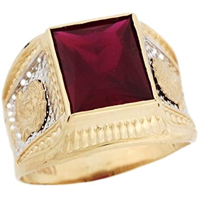 14ct Two Colour Gold Synthetic Garnet January Birthstone Jesus Mens Ring
