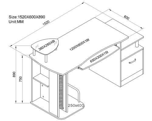 Sixbros mesa de ordenador roble s 202a 1845 for Medidas de un escritorio de oficina