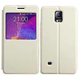 White Basic Easy View Leather Flip Cover for Samsung Galaxy Note 2 N7100
