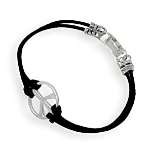 Medium Peace Symbol Silver-dipped Adjustable Cord Bracelet