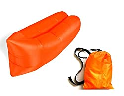 Insasta Inflatable Sleeping Bag Beach Hangout Lazy Air Bed Use For Picnic, Home (Orange)
