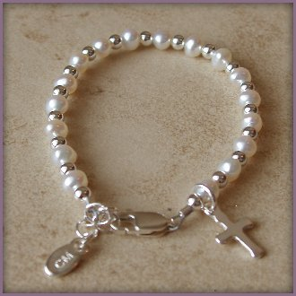 First Communion Bracelet Sterling Silver Childrens Jewelry, freshwater pearl bracelet features an adorable little cross