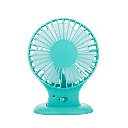 KINGMAS Portable USB Mini Desktop Dual Blades Fan - Rechargeable 2-Mode Speed Adjustable Quiet Design for PC Laptop Blue Blue
