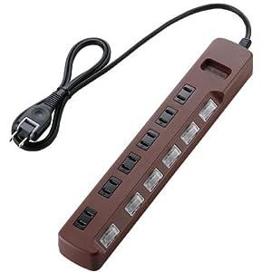 ELECOM 電源タップ 雷ガード 省エネ 個別スイッチ 6個口 T-BR04-2610BR