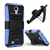i-Blason Prime Series Dual Layer Holster Case Kick Stand Compatible with Samsung Galaxy S4 SIV S IV i9500 with Locking Belt Swivel Clip Manufactured by i-Blason (Blue)