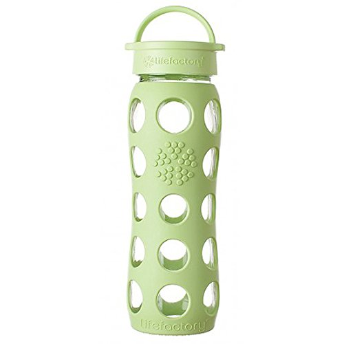 Lifefactory 22-Ounce Glass Bottle with Classic Cap and Silicone Sleeve, Spring Green