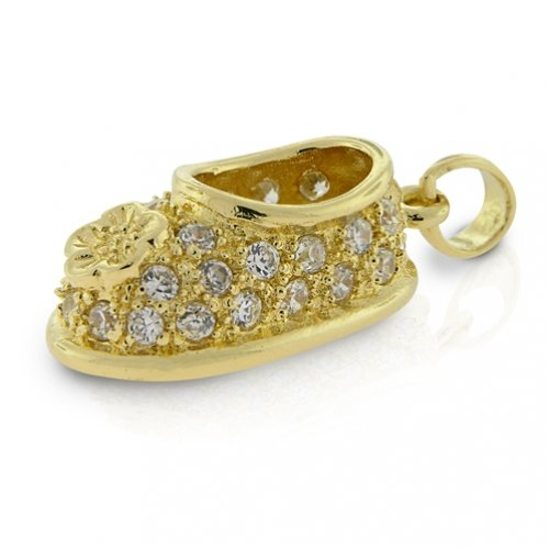 Bling Jewelry Gold Vermeil CZ Pave Flower Baby Shoe Charm Pendant [Jewelry]