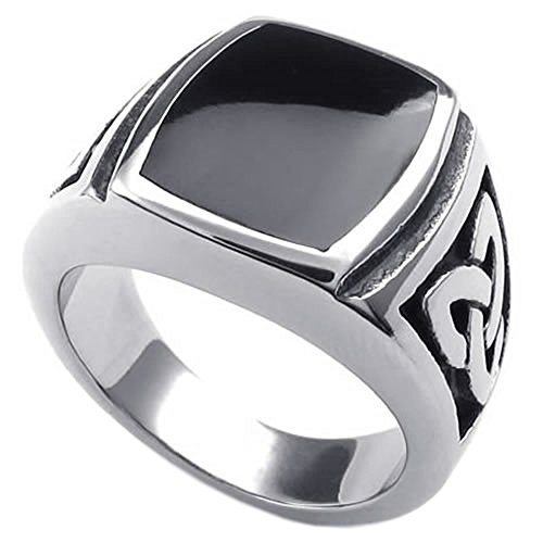 KONOV Mens Stainless Steel Ring, Celtic Knot Signet, Black Silver, Size 12 (Stainless Steel Rings For Men compare prices)