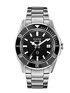 Bulova Marine Star Men's Quartz Watch with Black Dial Analogue Display and Black Stainless Steel Bracelet 98B203