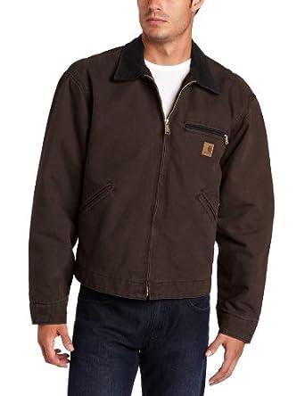 Carhartt Men's Sandstone Duck Detroit Blanket Lined Jacket, Dark Brown, Small Regular