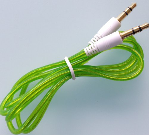 3.5Mm Jack Tube Plastic Clear Colorful Male To Male Stereo Audio Aux Auxillary Mp3 Iphone Galaxy Universal Cable For Pc Ipod Car Phone Speakers Amp (Green)