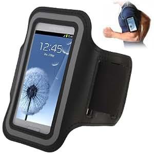 Brassard sport tour de bras noir pour Samsung Galaxy SIII mini / i8190 , Galaxy Trend Duos / S7562 idéal pour les sportifs, course à pied ou salle de sport avec pochette pour clés