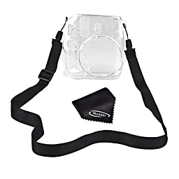 Mudder Crystal Protection Camera Case Cover for Fujifilm Instax Mini 8 Instant Film Camera with Cleaning Cloth and Strap (Clear)