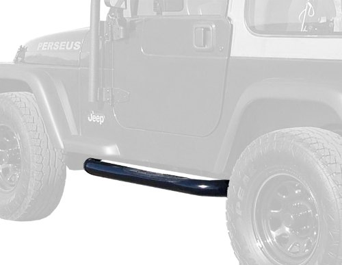 MaxMate Premium Custom Fit 1987-2006 Jeep Wrangler (No Drilling) 3″ Side Armor Step Nerf Bars Black Running Boards