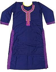 Clickedia Girl's & Women's Semi Stitched Cotton Navy Blue Purple Embroidered Semi-Stitched Kurti
