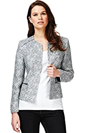 Autograph Tweed Biker Jacket with Linen