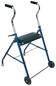 Duro-Med Walker with Wheels and Seat, Royal Blue