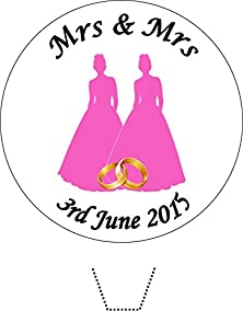 buy Novelty Personalised (Colour And Date) Mrs & Mrs Wedding 12 Edible Stand Up Wafer Paper Cake Toppers (Please Leave Personalisation As Gift Message) 5 - 10 Business Days Delivery From Uk