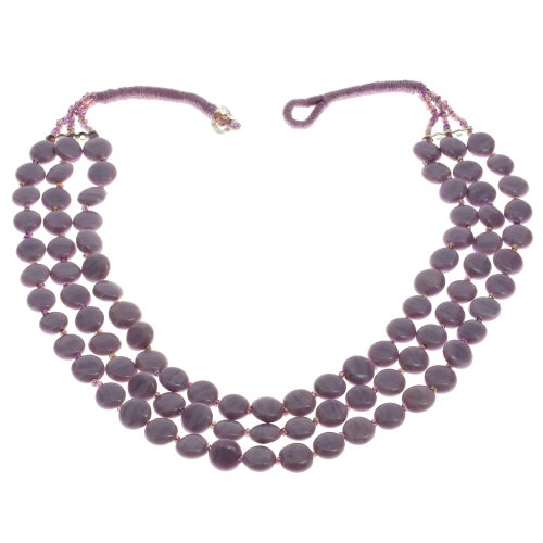 Lavender Beaded Necklace Indian Handmade Costume Jewelry Fashion