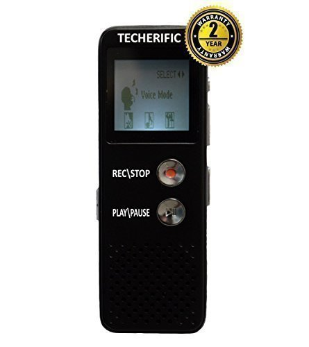 RadRecorder - Rechargeable Long Life Battery - Can Record Phone Calls - FREE 2 Year Warranty - 8GB - Records 550 Hrs of Audio - MP3 Player - Voice Activated Activation - Speaker Playback - Best Digital Voice Recorder - USB Flash drive - Record Meetings - Lapel Microphone