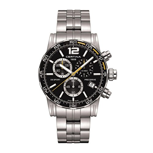Certina Men's DS Sport Steel Bracelet & Case Sapphire Crystal Quartz Black Dial Watch C027.417.11.057.03