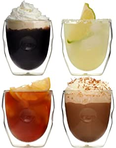 Ozeri Moderna Artisan Series Double Wall Beverage Glasses, 8-Ounce, Set of 4