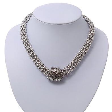 14 1 collier chaîne ras de cou rigide en plaqué rhodié rhodium de 40 cm réf