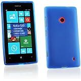Kit Me Out IT Custodia in TPU Gel + Pellicola protettiva con Panno in Microfibra per Nokia Lumia 520 - Blu Modello satinato