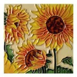 Amazon Com Three Sunflowers Decorative Ceramic Wall Art