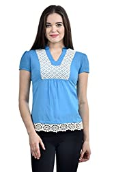 Femninora Turquoise Blue Color Casual Top With lace border