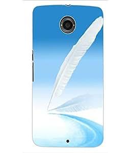 ColourCraft Lovely Feather Design Back Case Cover for MOTOROLA GOOGLE NEXUS 6