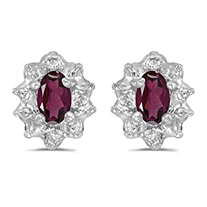 Diamond and 5 x 3 MM Oval Shaped Rhodolite Garnet Earrings in 14K White Gold (0.01 cttw)