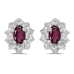 Diamond and 5 x 3 MM Oval Shaped Rhodolite Garnet Earrings in 14K White Gold (0.01 cttw)