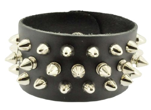 Unisex Black Brown Metal Spike Studded Punk Rock Biker Wide