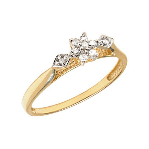10K Yellow Gold Diamond Cluster Ring (Size 10.5)