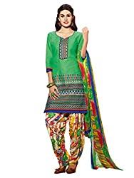 Inddus Women Green Embroidered Cotton Blend Dress Material