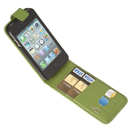 Fonerize Flip Leather Wallet / Card Case for iPhone 4 4S in Hot Green